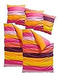 My Home Bettwäsche 4tlg. »Bura« mit knalligen Farben im Streifendesign in Pink-Orange Größe: 80 x 80 cm, 155 x 220 cm