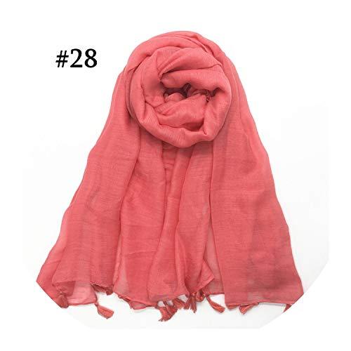 Hon-ey WE Schal Frauenquasten Hijab Schal Plain Maxi-Mode-Anhänger Schals weichen Foulard wickeln 1pc, Farbe 28