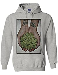 Good Vibes Weed Cannabis Drug High Novelty White Femme Homme Men Women Unisex Sweat à Capuche Hooded Sweatshirt Hoodie
