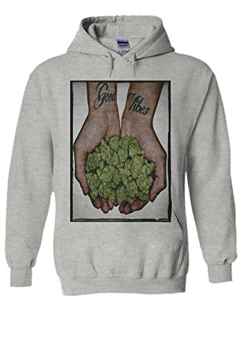 Good Vibes Weed Cannabis Drug High Novelty Grey Men Women Unisex Hooded Sweatshirt Hoodie-M