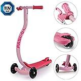 FASCOL Kinderroller Scooter mit Handbremse und Fußbremse, Ergonomische Anti-Rutsch, Crash-Vermeidung, Glänzend PU Radlager, ab 3-8 Jahren, Pink