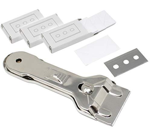 Glasschaber inkl. 15 Ersatzklingen mit Doppelschneide Ceranfeldschaber