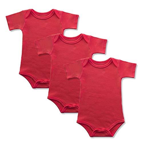BINIDUCKLING Baby Mädchen Body Kurzarm 3-Pack Rot 3 Monate