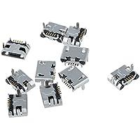TOOGOO(R)10pzs Conector de enchufe de puerto jack de 5 pines hembra micro-USB tipo B Piezas de reparacion