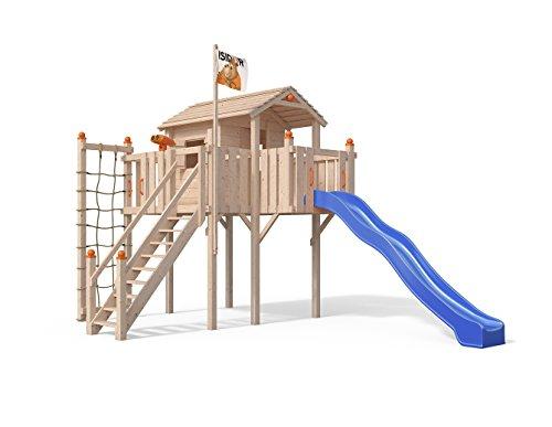 Terrizio XL-Spielturm Baumhaus mit Rutsche und Sicherheitstreppe, Kletternetz und Spielhaus auf 1,50 Meter Podesthöhe (Blau) Tür Jungle Gym