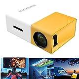 Gizayen Mini Portátil Proyector de Cine en Casa Altavoces Duales Incorporados Soporte HD 1080P HDMI USB AV Micro SD, Portátil de Cine en Casa Office Pantalla de 60 Pulgadas (Yellow)