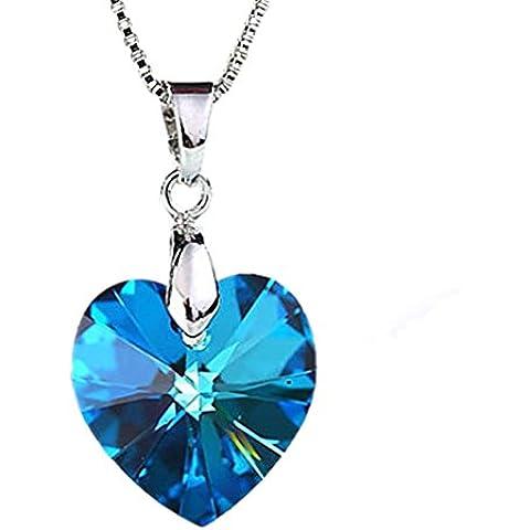 Forma de moda plateada plata cristalina azul del corazón del melocotón de la joyería de las mujeres Yazilind Gargantilla Collar colgante