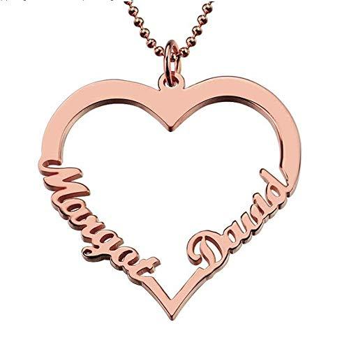 ASD Jewerly Collar Mujer Plata Collar Customized Heart Name im Silver Necklace Parejas Heart Pendant con 2 Nombres Love Necklace para el Regalo del día de San Valentín (Oro Rosa 14)