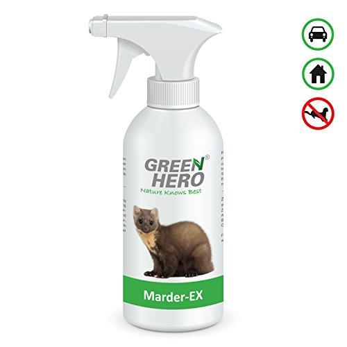 GreenHero® Marder-Ex Spray gegen Marderverbiss | Fernhaltemittel gegen Marder für das Auto | Wirkstoffe sind natürliche, ätherische Öle | Repellent, Abwehrspray mit Barrierewirkung