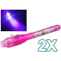 Set di 2 pennarelli invisibili di sicurezza , inchiostro visibile con raggi UV, con luce LED ultravioletta integrata