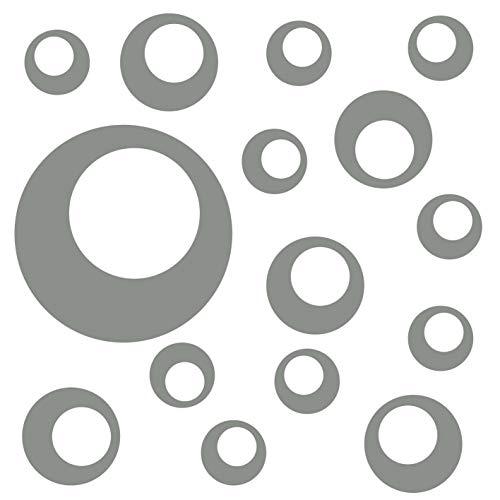 kleb-Drauf®   15 Retro-Punkte   Grau - matt   Wandtattoo Wandaufkleber Wandsticker Aufkleber Sticker   Wohnzimmer Schlafzimmer Kinderzimmer Küche Bad   Deko Wände Glas Fenster Tür Fliese (Wand-vase Dot)