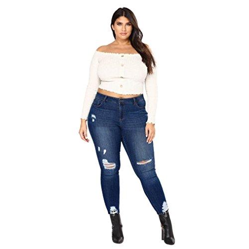 Uomogo donna autunno e inverno casual taglie forti matita jeans slim fit skinny stretch elasticizzati dritti denim alla caviglia pantaloni (asia 4xl, blu scuro)