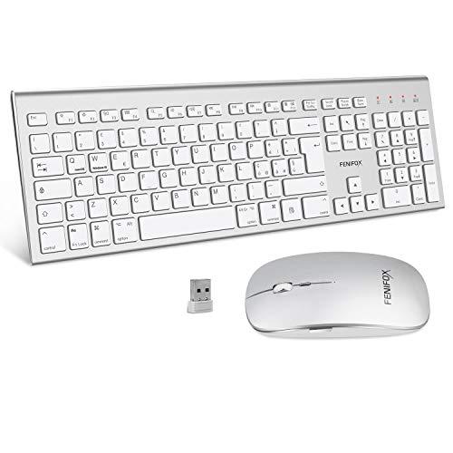 FENIFOX Tastiera e Mouse Wireless,Doppia Commutazione di Sistema Ergonomico Italiana 2.4G USB QWERTY,per Mac iMac Windows,Android,PC,Computer,Laptop,TV(Argento Bianco)