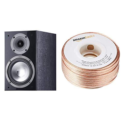 Canton SP206 2.0 Kompaktlautsprecher (130 Watt) schwarz & AmazonBasics Lautsprecherkabel 1,3 mm² / 16 Gauge, 30,48 m (100 Fuß)