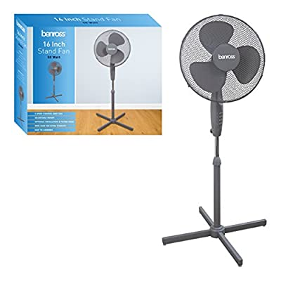 Benross 43930 16 inch 3-Speed Stand Fan Oscillating and Tilting Head
