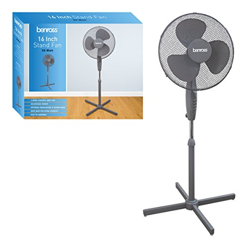 b9f960e492 Benross 43840 Adjustable Oscillating 3-Speed Stand Fan, 50 W, Grey