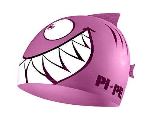 PI-PE Badekappe für Kinder - Badehaube mit Coolem Hai Motiv für Jungen und Mädchen - Schwimmkappe Wasserdicht aus Silikon - für Strand Oder Schwimmbad