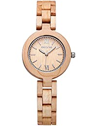 SKONE Wood Womens Watch with Nail Scale Analog Quartz Movement (Maple)