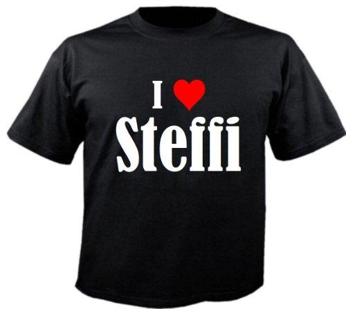 """T-Shirt """"I Love Steffi"""" für Damen Herren und Kinder ... in der Farbe Schwarz Schwarz"""