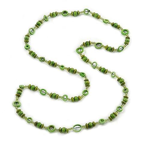 Long Collier en verre Vert/vert citron, os et perle en bois–118cm L