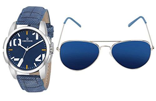 Decode Combo Of Analogue Blue Dial Watch & Aviator Men\'s Sunglasses-(WS 574Blue-003SLV Blue)