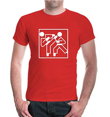 buXsbaum® T-Shirt Karate-Piktogramm Red-White