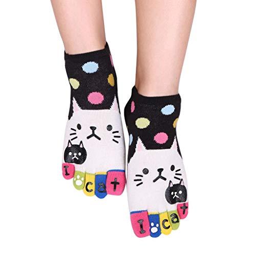 XuxMim Frauen-Mann-nette Katzen-Socken Lustige fünf Finger-Socken