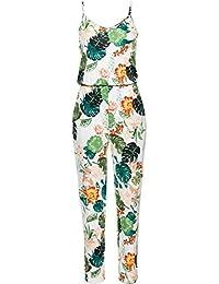 BienBien Combinaison Sexy Femme Ete Boheme Casuel Romper Imprimé Floral  Jumpsuit Rompers à Bretelle sans Manches a10f2fa99f7