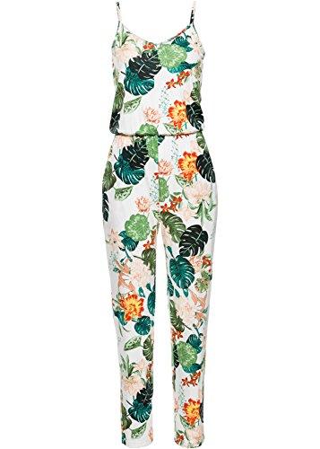 Swallowuk Damen Jumpsuit Mode Ärmellos Druck One Piece Playsuits Sommer Strand Lange Hosen Overall (XL, Weiß)