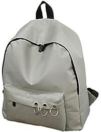 Sannysis mochilas escolares mujer universidad casual mochilas unisex pequeñas portatil mochilas bolso de niñas de escuela bolso mochilas bolsos bandolera de Lona con accesorios de metal decoración (Gris)