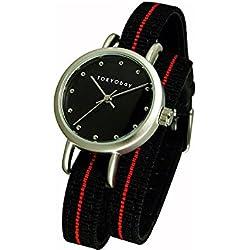 Tokyobay T233-BK Damen-Edelstahl Obi Wrap schwarzes Nylon band schwarzes Zifferblatt Watch