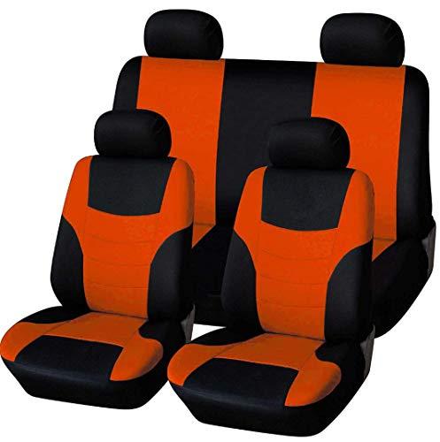 Autositzbezüge, Voll 8 Set vorne und hinten Universal-Resistant Bezüge Set, Auto-Innenraum-Zubehör Universal-Sitzbezug-Schutz (Grün),Orange