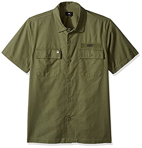 Obey mens Mission Military Woven Short Sleeve Button Up Shirt short_sleeve Button-Down Shirt  - green