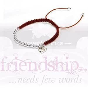 Friendship Bracelet Hand Made with Heart - Deep Red