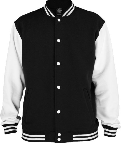 "Urban : ""2-tone College Sweatjacket"" Size: XS, Color: black-white …TB207 