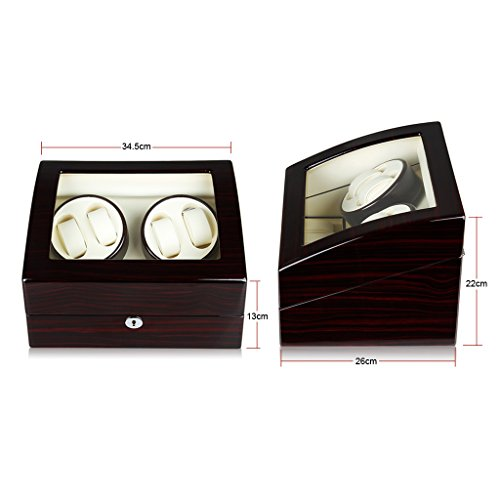 Excelvan New Quality Auto Watch Winder Luxury Automatic Watch Winder, Lxury Watch Winder Cases 4+6 Leather Storage Display Watch Winder Box Automatic Rotation