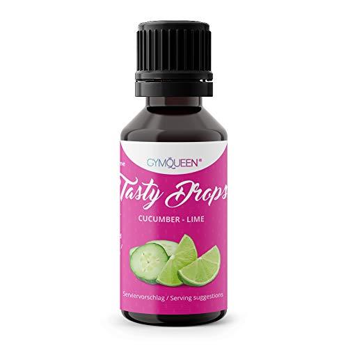 Flave drops   Flavour Drops zuckerfrei   für Wasser zum Kochen & Backen   flüssig Süßstoff   Gym Queen Flavdrops   Tasty Drops - Gurke-Limette 30ml