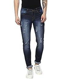 Urbano Fashion Men's Blue Slim Fit Heavy Distressed Jeans