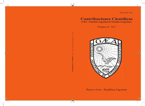 Contribuciones Científicas GAEA por Sociedad Argentina de Estudios Geográficos