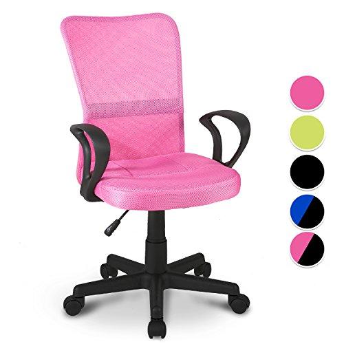Merax® Drehstuhl Kinder-Drehstuhl Schreibtischstuhl Bezugsstoff mit Armlehnen (Pink-Armlehnen)