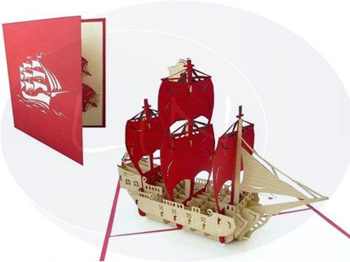 Lin de Pop up 3D Cartes de vœux Félicitations cartes cartes d'anniversaire bateau, voyage Bon d'achat Voilier, bateau pirate avec la voile rouge