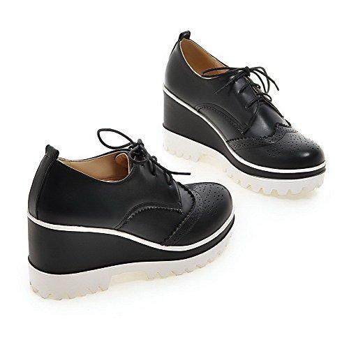 VogueZone009 Femme Lacet Rond à Talon Haut Couleur Unie Chaussures Légeres Noir