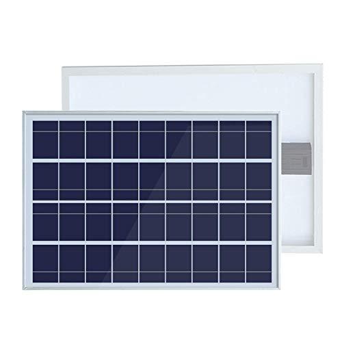 Panel solar de policristalino de 25 W 12 V. Potencia relativa: 25 W. Voc: 21,6 V. Vop: 18 V. Corriente de cirxuita corta (Isc): 1,22 A. Corriente de funcionamiento (lop): 1,11 A. Dimensiones: 50 x 350 x 18 mm. El paquete incluye: 1 panel solar de pol...