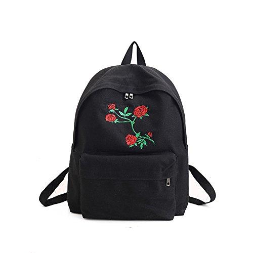 Vi.yo Leichter lässiger Schulrucksack, Rosen-Blumen-Druck, Reisen, Camping, Schulranzen für Teenager, Mädchen und Jungen, Schwarz, 31 x 39 x 11cm -