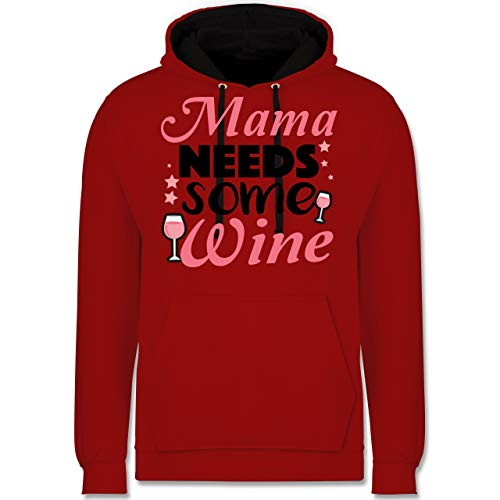 (Statement Shirts - Mama Needs Some Wine Rosé - XXL - Rot/Schwarz - JH003 - Kontrast Hoodie)