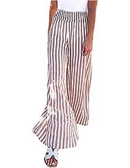 Pantalones de Pierna Ancha Floja Ocasional a Rayas para Mujer Pantalones Largos Diarios para Mujer
