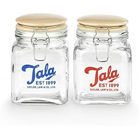 Tala - Barattolo, in stile vintage, con coperchio in ceramica, 750 ml, colore: Trasparente/Beige