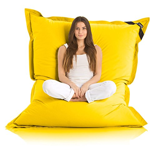 Lazy Bag Original Indoor & Outdoor Sitzsack XXL 400L Riesensitzsack Sitzkissen Sessel für Kinder & Erwachsene 180x140cm (Gelb)