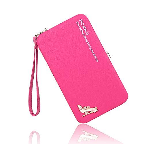 BIG SALE- 40% OFF -Woolala Phone Clutch Wallet Multi-pattern Iphone Samsung Phone Wallet Case with Wristlet, GeometryBlack High-heeledRose