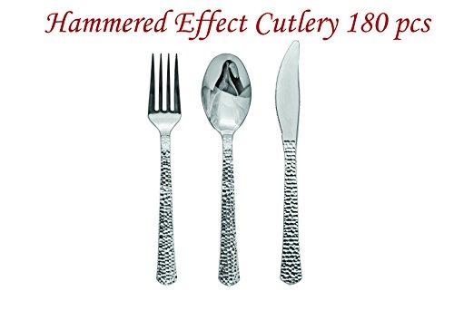 rgewicht plastiek Einwegbesteck- Silber-aus Kunststoff, PS metallisiert, mit Hammerschlag Effekt (Besteckset 180 stück) ()